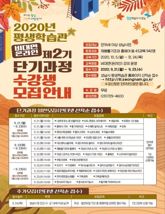 성남시 평생학습 '배움과 채움' 수강생 942..
