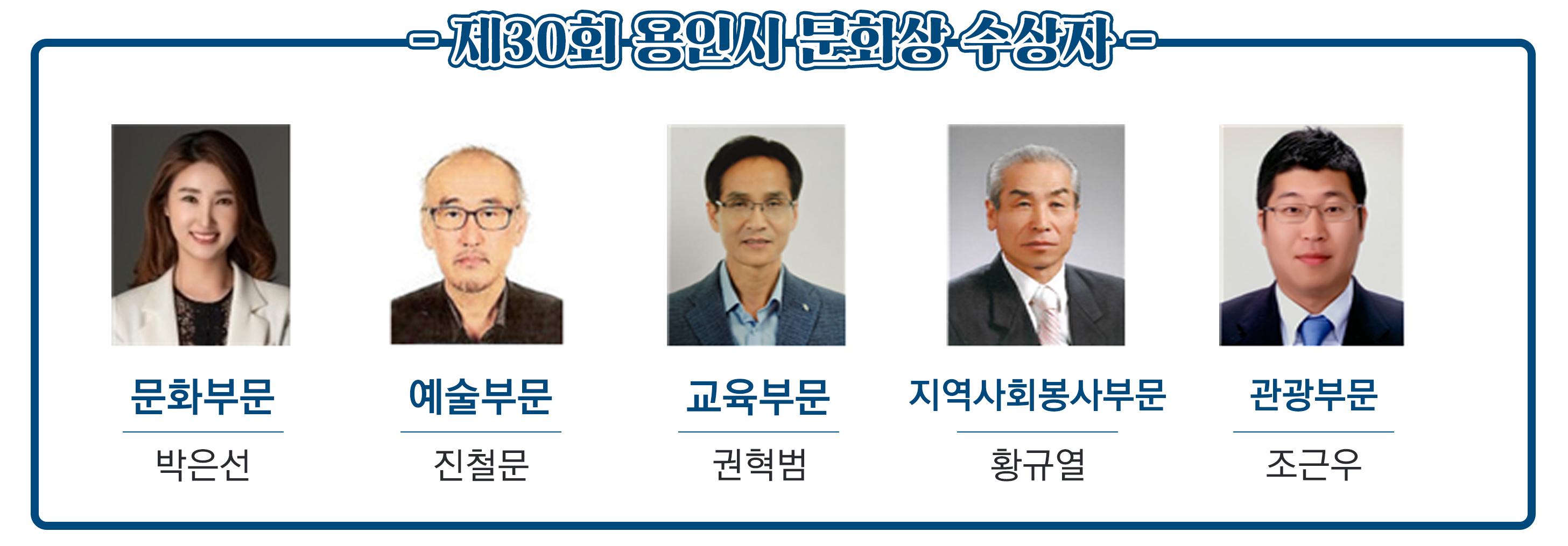 '용인시 문화상'5개 부문 수상자 선정
