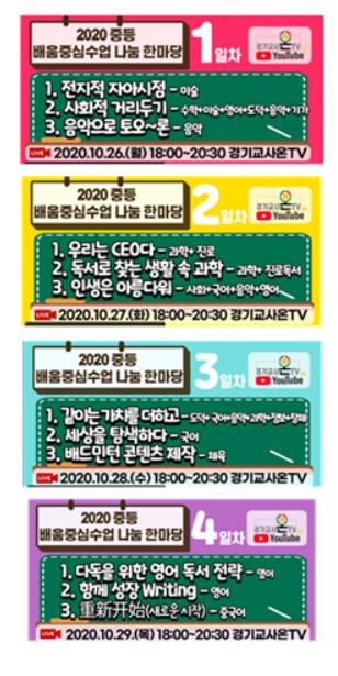 경기도교육청, 26일부터 4차례 ' 중등 배움중심수업 나눔 한마당' 실시간 방송