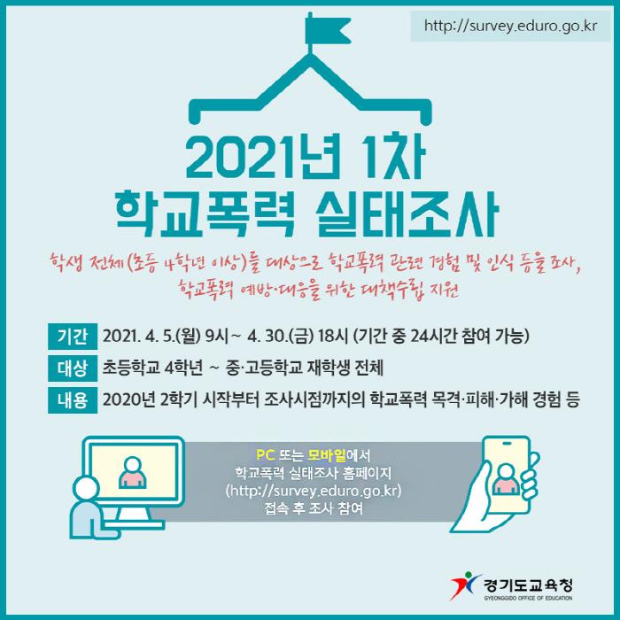 경기도교육청, 5일부터 학교폭력 실태조사 실시..
