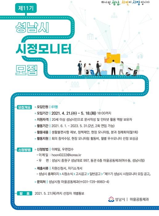 성남시-시민 가교역할, 시정모니터 61명 모집..