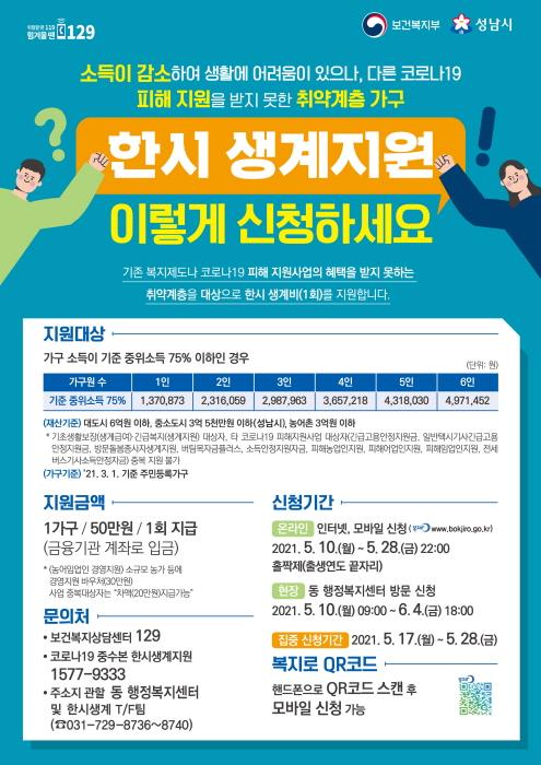 성남시 코로나19 위기가구에 한시 생계지원금 ..
