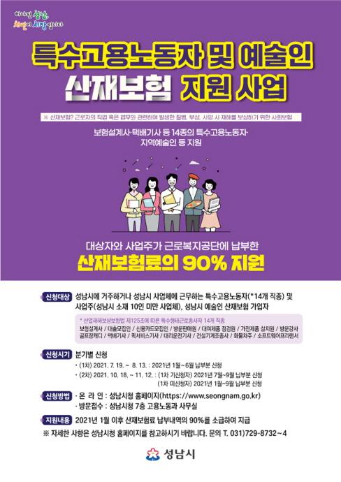 성남시, 특수고용노동자·예술인 산재보험료 90..